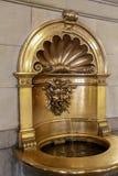 有恶魔头的金喷泉 免版税图库摄影