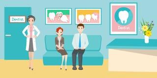 有患者的动画片牙医 免版税库存图片