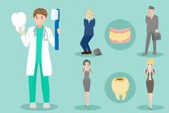 有患者的动画片牙医 免版税库存照片
