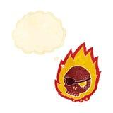 有想法泡影的动画片灼烧的头骨 免版税库存图片