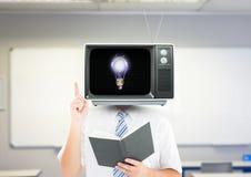 有想法 3d动画片题头例证回报了电视 库存图片