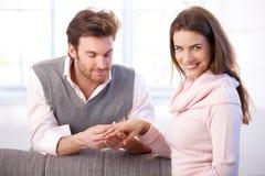 有愉快的妇女订婚 库存图片
