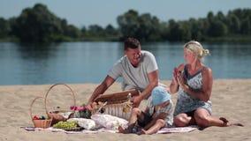 有愉快的家庭在海滩的野餐 股票录像