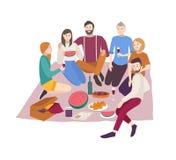 有愉快的朋友在白色背景隔绝的晚餐室外 编组画象年轻微笑的男人和妇女吃 皇族释放例证