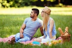 有愉快的浪漫的夫妇的图片野餐 库存照片