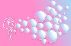 有愉快的笑的女孩的婴孩使用与许多的浴香波泡沫起泡 库存例证