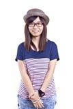 有愉快的面孔的亚裔妇女 库存图片