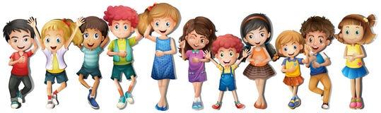 有愉快的面孔的许多孩子 库存图片