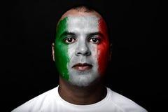 有意大利旗子的人 免版税库存图片