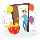 有意想不到的生日礼物的滑稽的动画片人 免版税库存照片