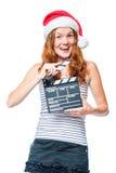 有戏院搅打机的一位年轻女演员佩带 图库摄影