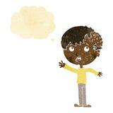 有成长的动画片男孩在有想法泡影的头 库存图片