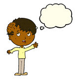 有成长的动画片男孩在有想法泡影的头 免版税库存照片