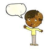 有成长的动画片男孩在有讲话泡影的头 免版税库存图片