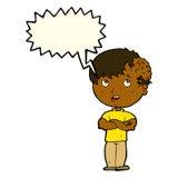 有成长的动画片男孩在有讲话泡影的头 免版税图库摄影