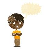 有成长的动画片男孩在有讲话泡影的头 图库摄影