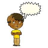 有成长的动画片男孩在有讲话泡影的头 库存照片