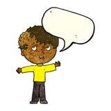 有成长的动画片男孩在有讲话泡影的头 免版税库存照片