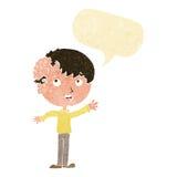 有成长的动画片男孩在有讲话泡影的头 库存图片