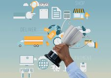 有战利品的企业手 与图表的蓝色背景关于商店、交付和付款 免版税库存图片