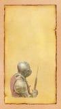 有战斧的-减速火箭的明信片装甲的骑士 免版税库存图片