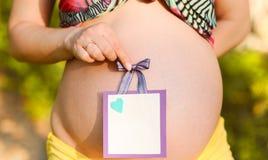 有户外cardboad标志的孕妇 图库摄影
