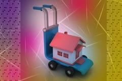 有房子的台车 免版税库存图片
