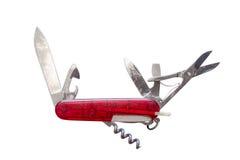 有所有必要的工具的老多用途刀子被隔绝的全部在一个和 库存图片