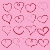 有手写的心脏的华伦泰的 向量 向量例证