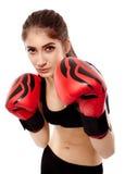 有手套的夫人拳击手 免版税图库摄影