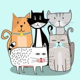 有手拉的动画片的逗人喜爱的猫帮会 免版税库存照片