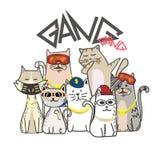 有手拉的动画片的逗人喜爱的猫帮会 Hip Hop样式 库存图片