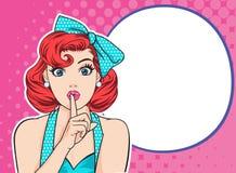 有手指的妇女在嘴唇保留沈默 库存例证