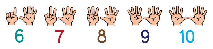 有手指的手 为计数教育设置的象 皇族释放例证