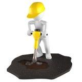 有手提凿岩机的建筑工人 免版税库存图片