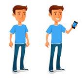 有手机的凉快的动画片人 免版税库存照片
