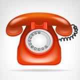 有手机的减速火箭的红色电话隔绝了在白色的对象 库存图片