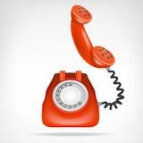 有手机的减速火箭的红色电话隔绝了在白色的对象 免版税库存图片