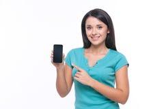 有手机的女孩 库存图片