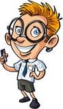 有手机的逗人喜爱的动画片书呆子 免版税库存图片