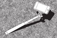 有手机的Selfie棍子 库存照片