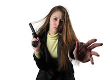 有手枪的女孩 库存照片