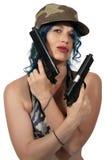 有手枪的妇女 免版税图库摄影