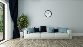有手表的蓝色墙壁客厅 免版税库存照片