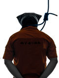 有执行绞刑的人非陷阱的犯罪人在脖子剪影附近 库存图片