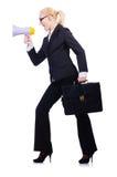 有扩音器的妇女女实业家 免版税库存照片