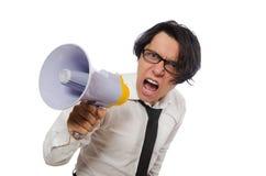 有扩音器的恼怒的人在白色 图库摄影