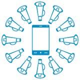 有扩音器的智能手机 免版税库存照片