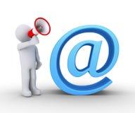 有扩音机和电子邮件的人 免版税库存照片