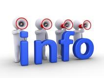 有扩音机的人们提供信息 免版税库存图片